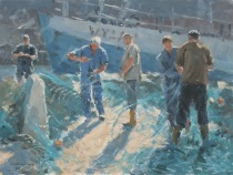 Fishermen mending nets, Whitby - Oil - 12 x 9