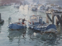 Fishing Boats At Whitby Marina - Watercolour - 14 x 10