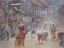 Heat and Dust Street Cleaners, India - Watercolour -18 x 13