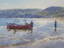 Launching Fishing Boat, Runswick Bay - Watercolour - 14 x 10