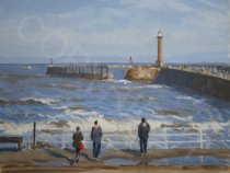 Rough Sea Whitby Pier - Oil - 20 x 16