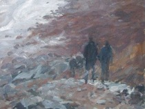 The track onto Runswick beach - Oil - 16 x 12