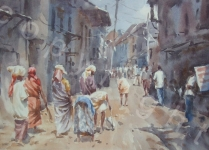 """Street Cleaners, India. Watercolour. 13"""" x 20"""""""