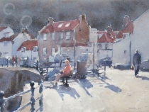 A Sunny Day, Staithes Seafront. Watercolour