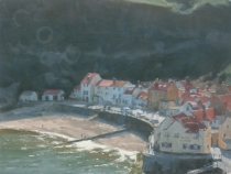 Birds-eye View, Staithes Seafront. Oil