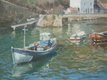 Fishing boats at high tide, Staithes beck. Oil