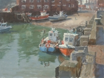Fishing boats in Scarborough harbour. Oil