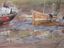 Low tide in Staithes harbour. Watercolour