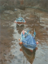 Moorings at Low tide, Staithes Beck. Oil