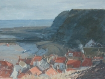 Staithes Rooftops and Cliffs Winter. Oil