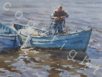 Untangling Ropes - Whitby. Watercolour