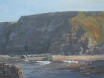 Warm Light, Staithes Harbour and Cliffs. Oil