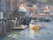 Whitby quayside. Watercolour